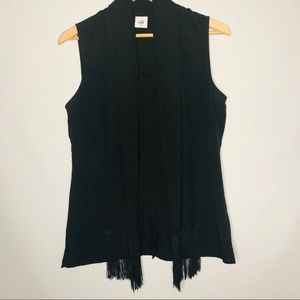 Cabi Blouse Attached Scarf Size Medium Black